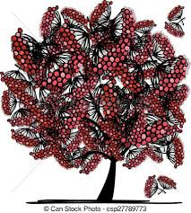 vectors illustration of rowan tree sketch for your design vector