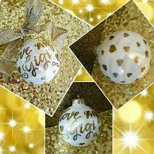 painted glass calligraphy christmas ornaments pearlescent