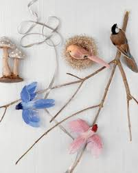 ornaments glittered birds nests and mushrooms