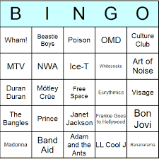 1980s music bingo cards printable bingo activity game and