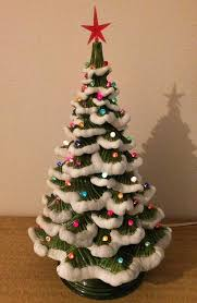 christmas tree with snow 1970s vintage atlantic mold ceramic light up snow flocked