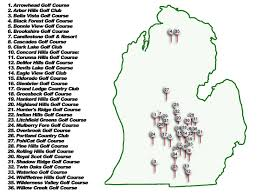 Michigan Map Outline by Map Of Golf Courses In Michigan Michigan Map