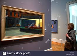 nighthawks painting by edward hopper displayed at the art