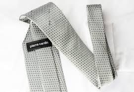 pierre cardin silk rhinestone tie geometric trellis on silver with