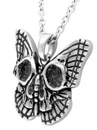 butterfly skull necklace by controse silver inked shop