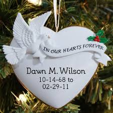personalized glass memorial ornament says in