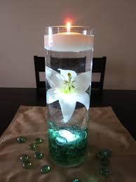 centerpiece kit with sea green marbles and led