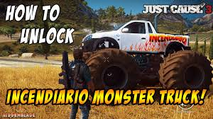 monster truck video game play just cause 3 how to unlock the