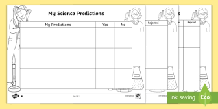 science predictions differentiated activity sheets worksheets