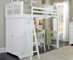White And Walnut Bedroom Furniture Twin Locker Loft Bunk Bed With Desk 9060 Desk And 8060 Desk