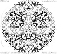 clipart black and white ornate floral circle tattoo design element