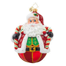 radko 1017844 peppermint poly claus roly poly santa with