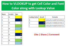 how to vlookup to get cell color and font color along with lookup