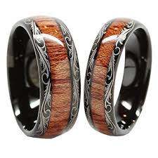 wood inlay wedding band personalized tungsten carbide wedding band wood inlay rings