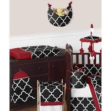 sweet jojo designs red and black trellis collection 9pc crib