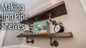 Industrial Pipe Bookcase How To Make Industrial Iron Pipe Shelves Youtube