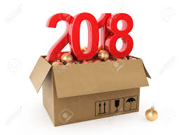 new year box 3d rendering 2018 new year digits with a cardboard box of