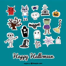 cute icons stickers halloween vector free download