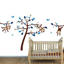 Brown Tree Wall Decal Nursery Blue Jungle Murals For Monkey Wall For Boys Rooms