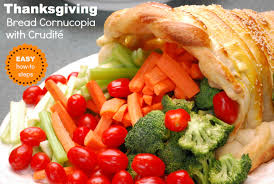 how to create a thanksgiving bread cornucopia with crudité