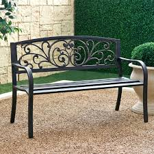 black wrought iron garden bench benches wrought iron garden