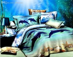 Wholesale Bed Linens - wholesale blue dolphin bed sheets 3d oil blue dolphin ocean