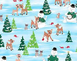 reindeer fabric etsy