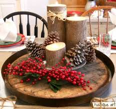 country christmas centerpieces lazy susan barrel top and log candle holders gardening