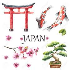 watercolor draw japanese design elements torii gate bonsai