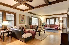 Craftsman Ceiling Fan by Craftsman Living Room With Hardwood Floors U0026 Crown Molding In