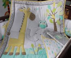 Giraffe Bed Set Cotton Embroidery Owl Elephant Giraffe Baby Bedding Set Quilt