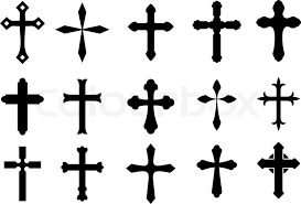set of religious cross symbols isolated on white stock vector