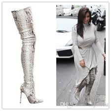 s high boots fashion python leather boots snakeskin pattern pointed toe womens