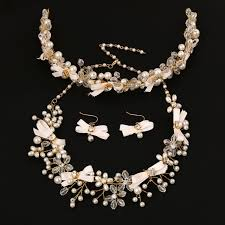 crystal pearl necklace set images 3 pieces bridal jewelry sets crystal pearl necklace earrings hair jpg