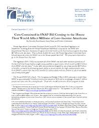 cuts contained in snap bill coming to the house floor would affect