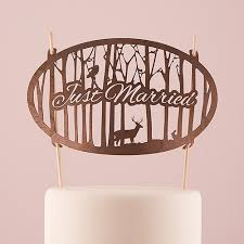 just married woodland wood veneer cake topper the knot shop