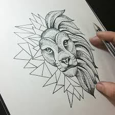 geometric sketch drawing tattoo lion on instagram