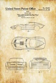 vintage corvette mako shark corvette patent 1966 patent print automobile decor