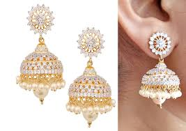 jhumka earrings swasti jewels american diamond cz fashion jewelry