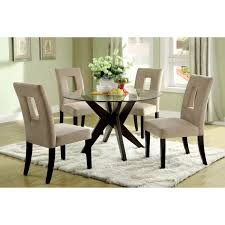Dining Sets With Glass Top Round Glass Dining Table On Brown Wooden Legs Plus White Chairs