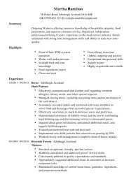 waitress resume exle waitress cv exle for restaurant bar livecareer