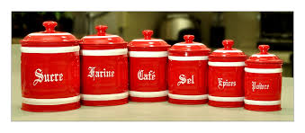 red kitchen canisters french english metal canister set