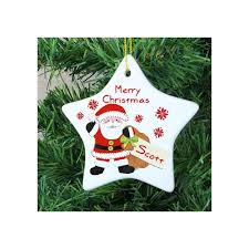 personalised santa ceramic star christmas tree decoration from