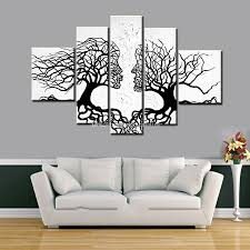 Home Decor Tree 100 Hand Made Promotion Black White Tree Canvas Painting Abstract