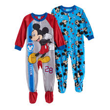 mickey mouse toddler boy fleece one footed pajama set