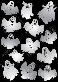 ghosts halloween night vector art illustration on a black