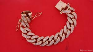 gold link bracelet with diamonds images Mens miami cuban link bracelet 300 grams 10k rose gold 21 big jpg