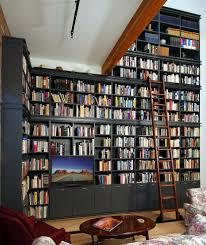 Sliding Bookshelf Ladder Phoenix Full Wall Bookshelves Living Room Traditional With