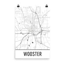 Map Of Wooster Ohio by Wooster Oh Street Map Poster Wall Print By Modern Map Art