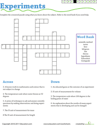 science experiment vocabulary crossword worksheet education com